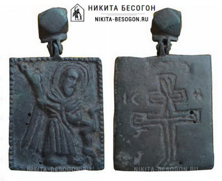Никита Бесогон, двусторонняя икона с подвижным оглавием