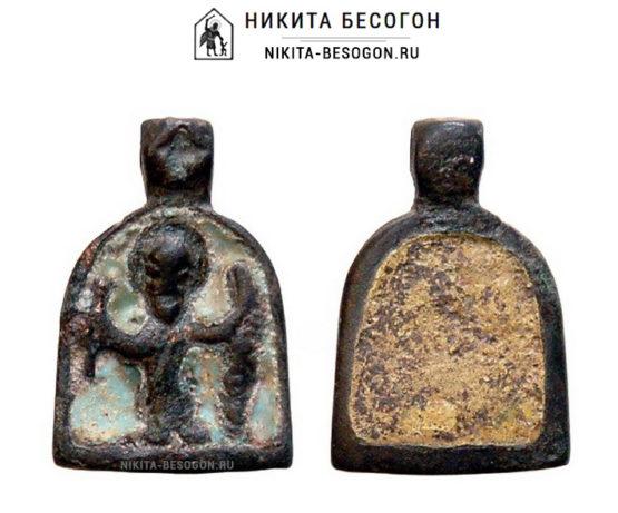 Иконка-привеска Святой Никита, побивающий беса в эмалях