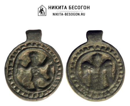Двусторонняя круглая икона Никита Бесогон и Архангел Михаил