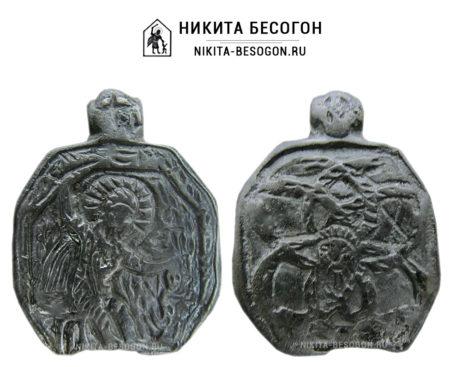 Икона змеевик Никита, побивающий беса. Двусторонняя