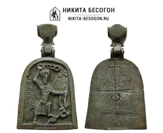 Двусторонняя икона Никита Бесогон и Престол уготованный (Этимасия)