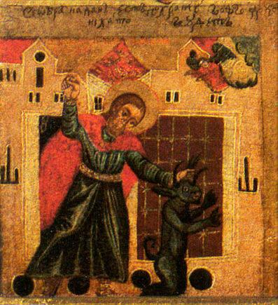 """Медальон """"Никита, побивающий беса."""" Икона из Церкви Святого Никиты, Костомлоты, Польша"""