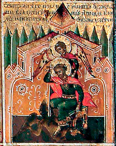 """Клеймо """"Никита побивающий беса"""" из иконы """"Великомученик Никита, с житием"""""""