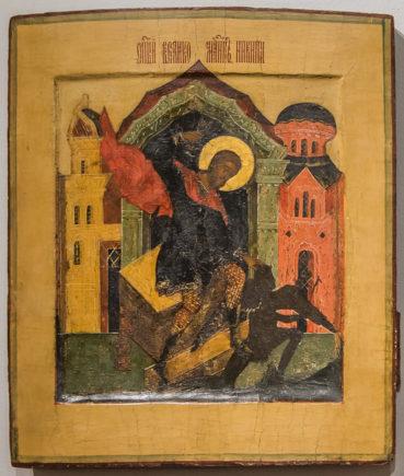 Икона из коллекции Григория Лепса: «Великомученик Никита, побивающий беса».