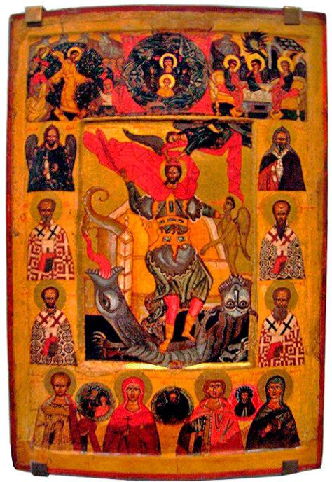 Святой Никита, побивающий беса. Икона. Коллекция Т. Мавриной