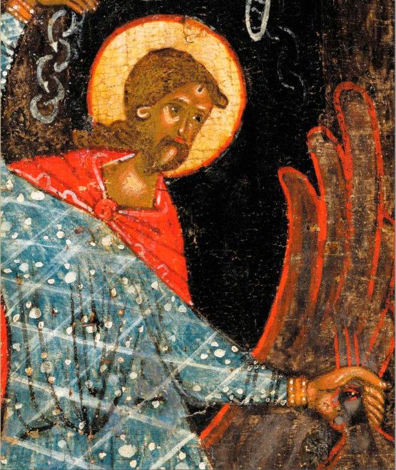 Великомученик Никита, побивающий беса, с Деисусом и избранными святыми - икона из собрания Воробьёвых