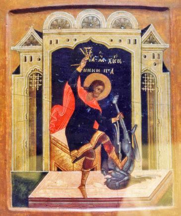 Вмч. Никита, истязающий беса, икона XVII в.