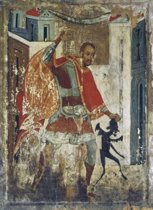 Никита, побивающий беса, икона конца XVIII века