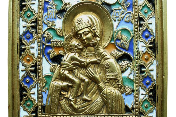 Образ Богоматери Феодоровской на литых медных иконах