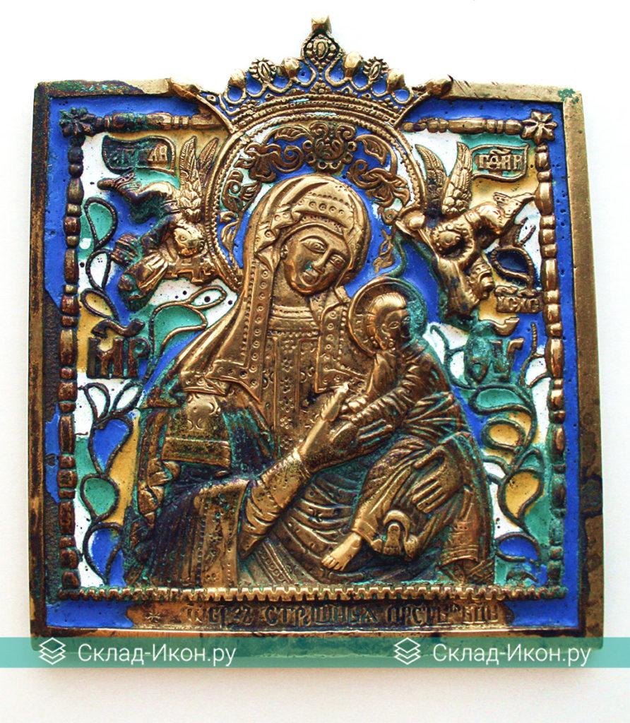 Образ Страстной Богоматери на медных литых иконах