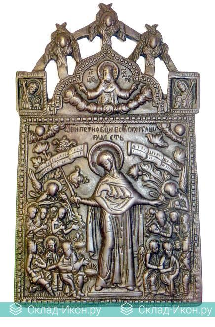 Литая медная икона Богоматери «Всех скорбящих радость»
