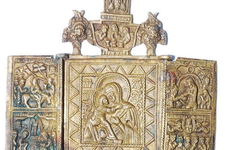 Богоматерь Владимирская - икона меднолитая. Меднолит каталог