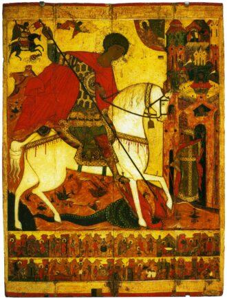 Икона «Чудо Георгия о змие, с житием» с клеймом «Никита Бесогон»