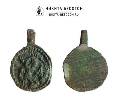 Круглая икона великомученик Никита, побивающий беса