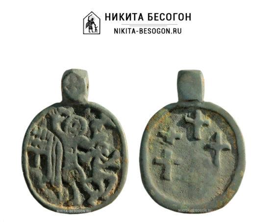 Иконка «Великомученик Никита Бесогон» с крестами на обороте