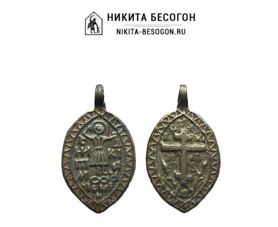 Двусторонняя икона Никита Бесогон и Голгофский Крест