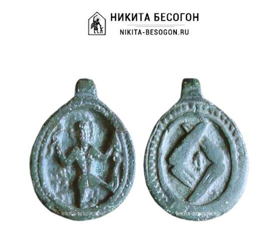 Двухсторонняя меднолитая иконка Никита Бесогон и херувим, овальной формы