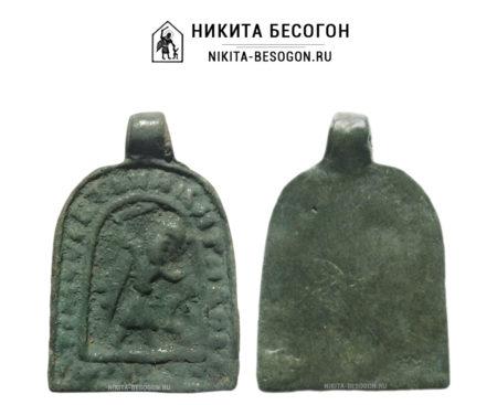 Никита побивающий беса - иконка-привеска 15 века